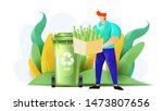 a man sorts trash and throw it... | Shutterstock .eps vector #1473807656