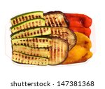 grilled vegetables on white... | Shutterstock . vector #147381368