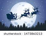 santa flying across the moon | Shutterstock .eps vector #1473863213