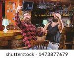 hipster brutal bearded man... | Shutterstock . vector #1473877679