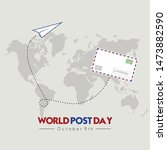 world post day with flying mail ... | Shutterstock .eps vector #1473882590