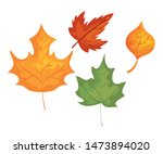 set of autumn leaves nature... | Shutterstock .eps vector #1473894020