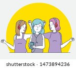 happy girls with modern... | Shutterstock .eps vector #1473894236