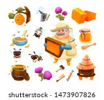 honey bee icon set with... | Shutterstock .eps vector #1473907826