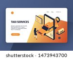 isometric taxi concept banner...