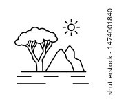 river and tree line icon....