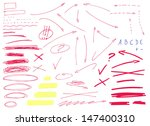 Set of hand drawn thin red arrows pointing in different directions. Underlines, correction and highlighting elements. Signs isolated on white background. Vector illustration.