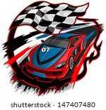 Speeding Racing Car with Checkered Flag & Racetrack Design  - stock vector