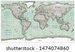 vintage world map in green... | Shutterstock . vector #1474074860