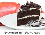 Chocolate Cake On White Plate