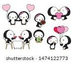 cute kawaii valentine penguins...   Shutterstock .eps vector #1474122773