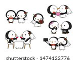 cute kawaii valentine penguins...   Shutterstock .eps vector #1474122776