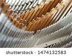 Small photo of Closeup of pipe organ pipes, flute and principal stops