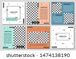 set of editable square banner... | Shutterstock .eps vector #1474138190