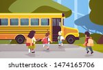 group of mix race pupils with... | Shutterstock .eps vector #1474165706