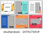 set of editable square banner... | Shutterstock .eps vector #1474173419