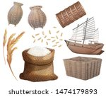 Set of Thai baskets , Rice sack and barque , Digital Painting.