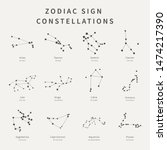set of zodiac sign... | Shutterstock .eps vector #1474217390