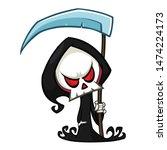 cute cartoon grim reaper with...