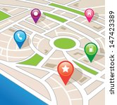 city map with navigation icons | Shutterstock .eps vector #147423389