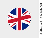 uk or british circle flag icon. ... | Shutterstock . vector #1474237790