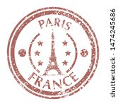 famous tower eiffel on paris on ... | Shutterstock . vector #1474245686
