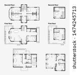 set of black and white... | Shutterstock . vector #1474245713