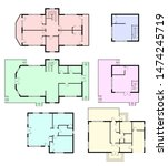 set of architectural plans of a ... | Shutterstock . vector #1474245719