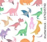 seamless pattern from cute... | Shutterstock . vector #1474245740