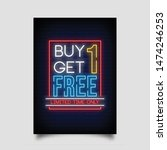 buy one get one free for poster ... | Shutterstock .eps vector #1474246253