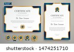 blue and gold certificate of... | Shutterstock .eps vector #1474251710