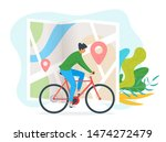 young man riding bicycle... | Shutterstock .eps vector #1474272479