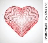 vector dotted heart . linear... | Shutterstock .eps vector #1474281170