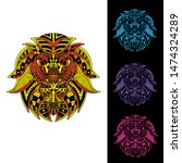 decorative glowing lion set... | Shutterstock .eps vector #1474324289