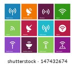 radio tower icons on color... | Shutterstock .eps vector #147432674