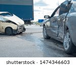 Small photo of Two cars collided, coolant leaked.Car accident on the highway,breakage.