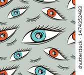 seamless pattern with eyes... | Shutterstock .eps vector #1474352483