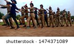 Small photo of Indian female students participating at parade ground rehearsel district Katni Madhya Pradesh in India shot captured on Aug 2019