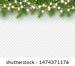 border with green fir branches... | Shutterstock .eps vector #1474371176