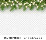 border with green fir branches... | Shutterstock .eps vector #1474371176