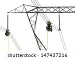 electrical line workers. line... | Shutterstock . vector #147437216
