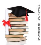 grad hat with diploma and books ...   Shutterstock . vector #147439418