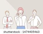 arrogant business people. hand... | Shutterstock .eps vector #1474405463
