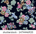 seamless vintage flower with... | Shutterstock . vector #1474446920