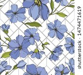 vector flax floral botanical... | Shutterstock .eps vector #1474471619