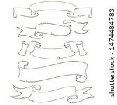 blank ribbon banners. outline... | Shutterstock . vector #1474484783