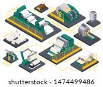isometric flowchart with paper... | Shutterstock .eps vector #1474499486