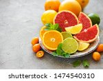 Plate With Citrus Fresh Fruits...