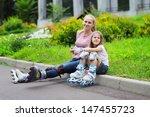 mother and preschool daughter... | Shutterstock . vector #147455723