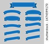 set of blue ribbon banner icon... | Shutterstock .eps vector #1474599170